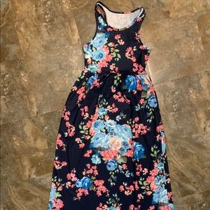 Size Small long floral dress navy blue